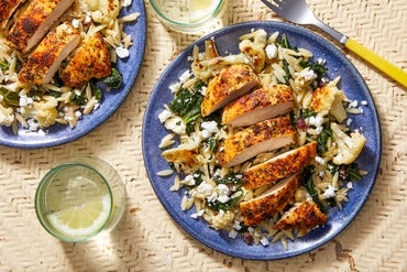 Seared Chicken & Orzo Salad with Roasted Cauliflower & Honey Mustard Dressing