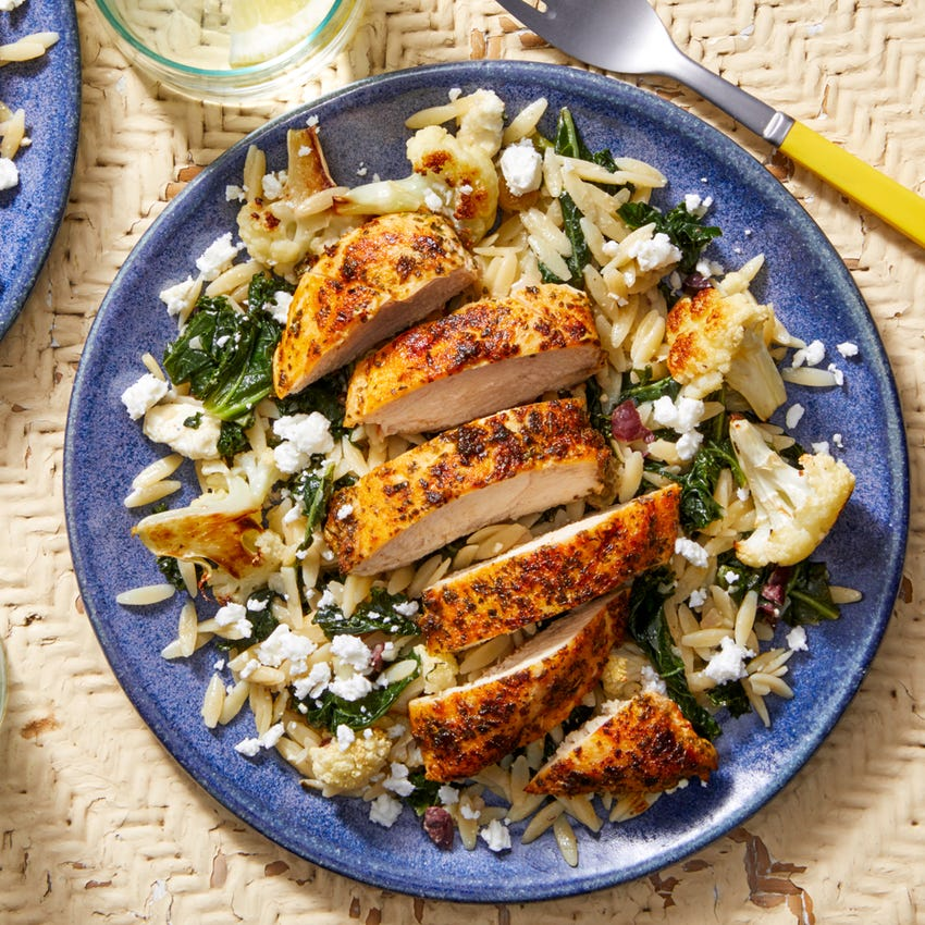 Seared Chicken & Orzo Salad with Roasted Cauliflower & Honey Mustard Dressing