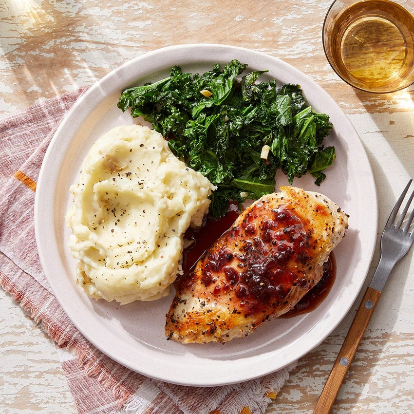 Seared Chicken & Mashed Potatoes with Sour Cherry Pan Sauce