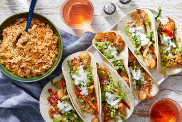 Chicken, Onion, & Pepper Tacos with Spiced Rice