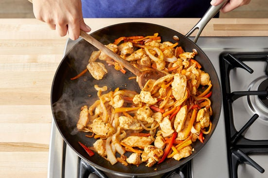 Cook the vegetables & finish the chicken: