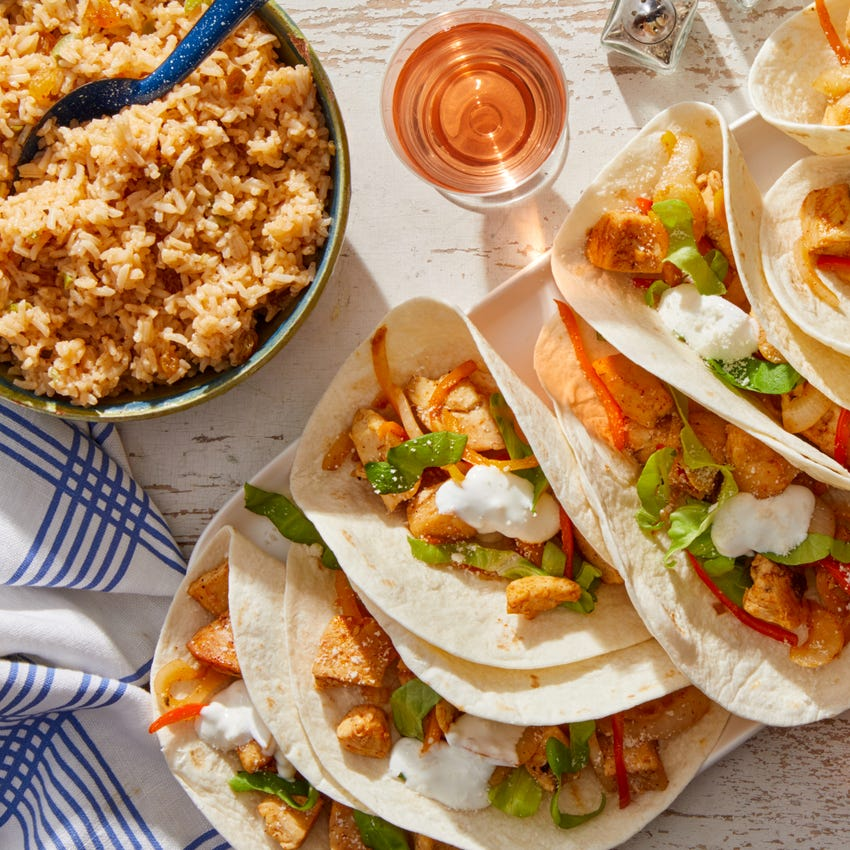 Chicken & Sweet Pepper Tacos with Spiced Rice