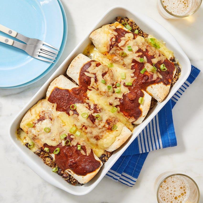 Black Bean & Poblano Pepper Enchiladas with Cheddar Cheese