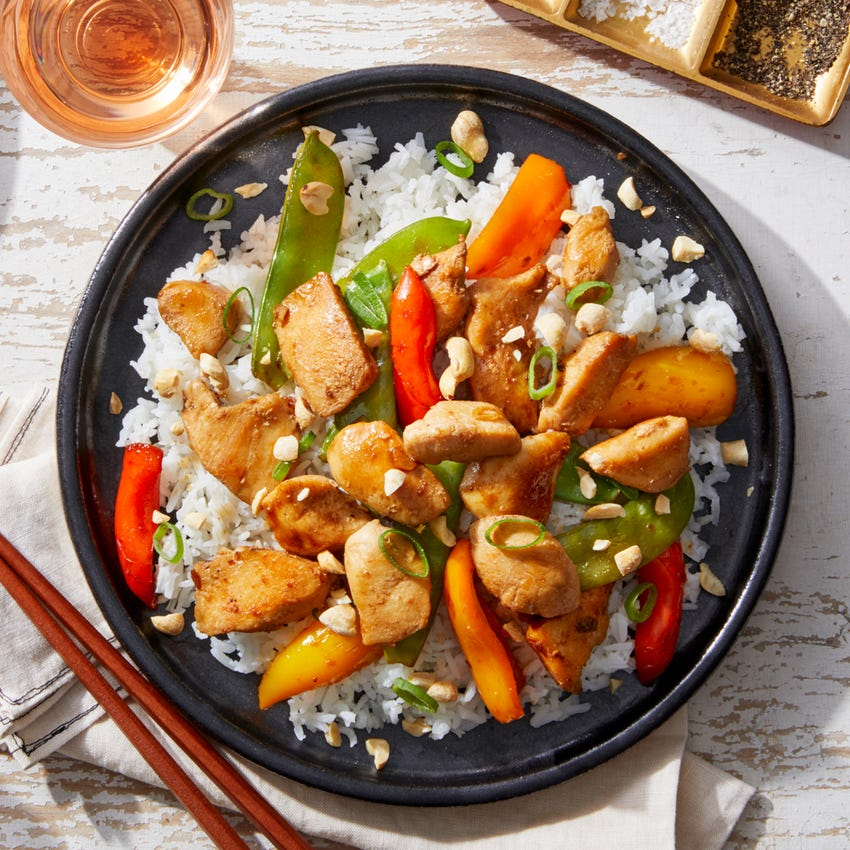 Shanghai Kung Pao Chicken with Stir-Fried Peas, Sweet Peppers, & Bird's Eye Chile
