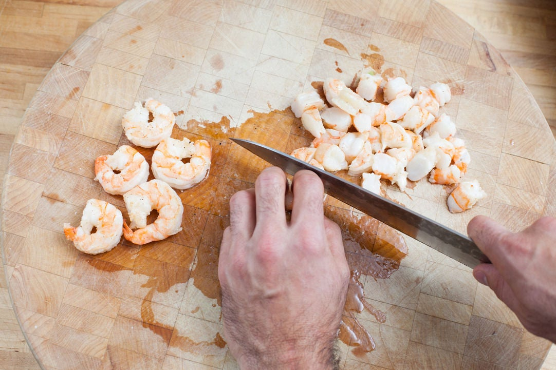 Chop the shrimp: