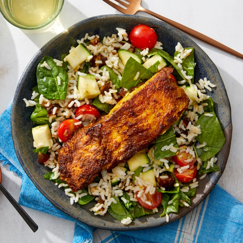 Middle Eastern Spiced Cod with Brown Rice, Dates,  & Lemon-Yogurt Sauce