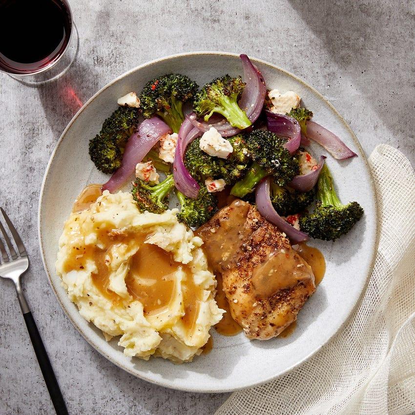 Za'atar Chicken Thighs & Mashed Potatoes with Roasted Broccoli, Lemon & Feta