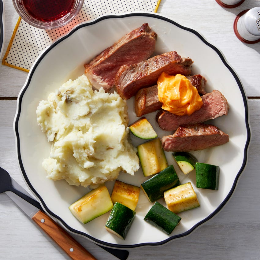 Steak & Spicy Butter with Creamy Mashed Potatoes  & Zucchini