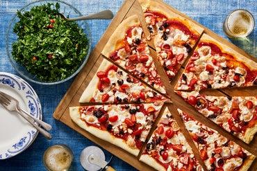 Feta, Mozzarella, & Fresh Tomato Pizza with Pesto Kale Salad