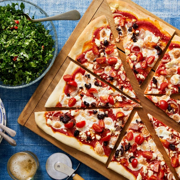 Feta, Mozzarella, & Fresh Tomato Pizza with Pesto Kale Salad