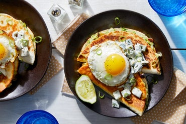 Spicy Zucchini Quesadillas with Crema-Dressed Poblano  & Fried Eggs
