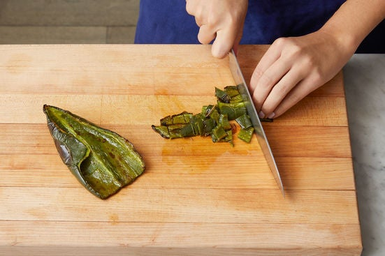 Prepare & roast the poblano pepper: