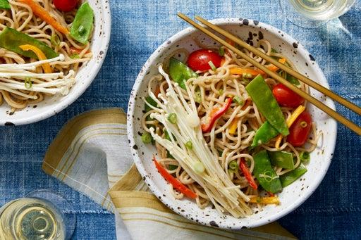 Soba Noodles with Snow Peas & Marinated Enoki Mushrooms