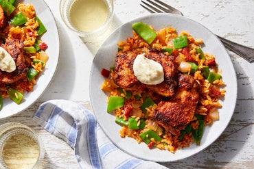Spanish-Spiced Chicken & Rice with Piquillo Peppers  & Snow Peas