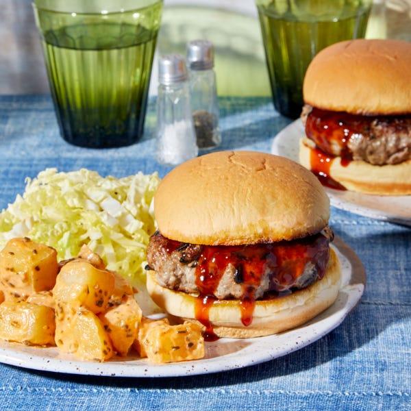 Blackened Ginger Pork Burgers with Napa Cabbage Slaw & Potato Salad