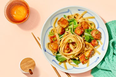 Chrissy Teigen's Sweet & Spicy Sesame Chicken Noodles with Bok Choy