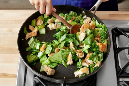 Finish the chicken & cook the bok choy: