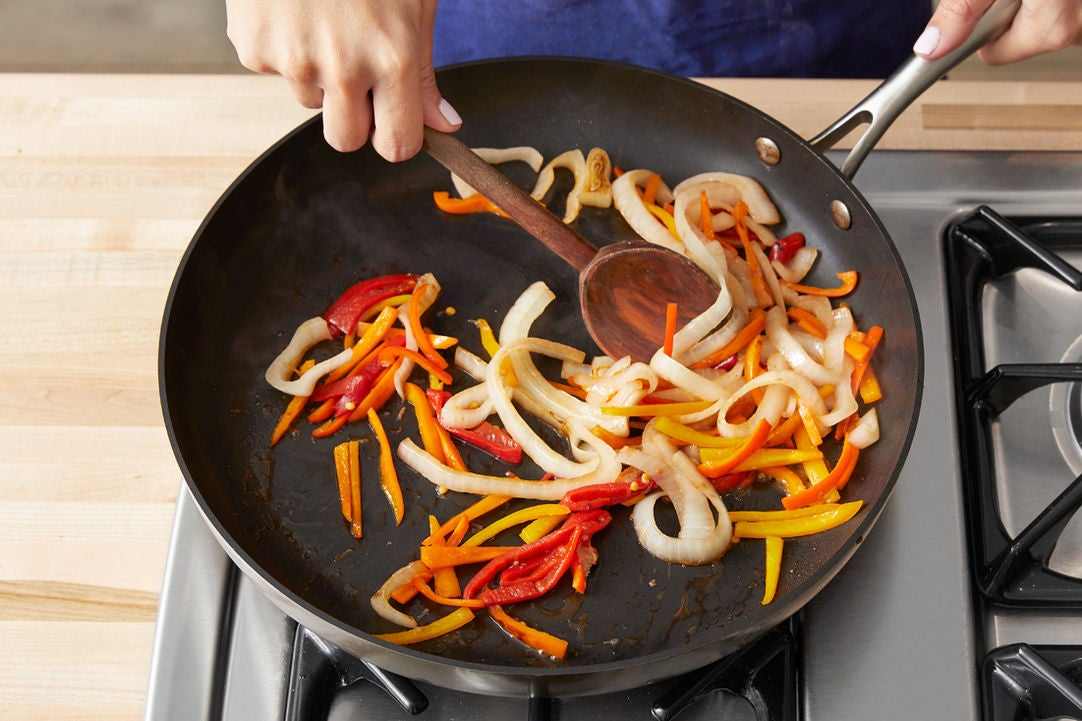 Cook the peppers & onions: