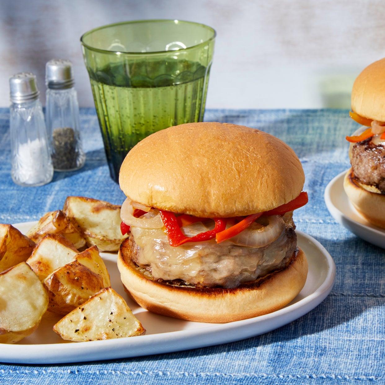 Pepper & Onion Cheeseburgers with Roasted Potatoes & Aioli