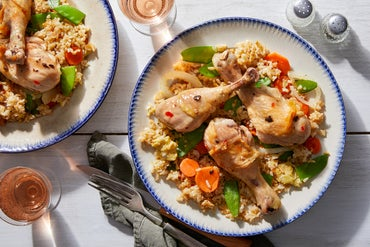 Sweet Chili-Glazed Drumsticks with Vegetable Fried Rice