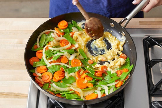 Cook the vegetables & eggs: