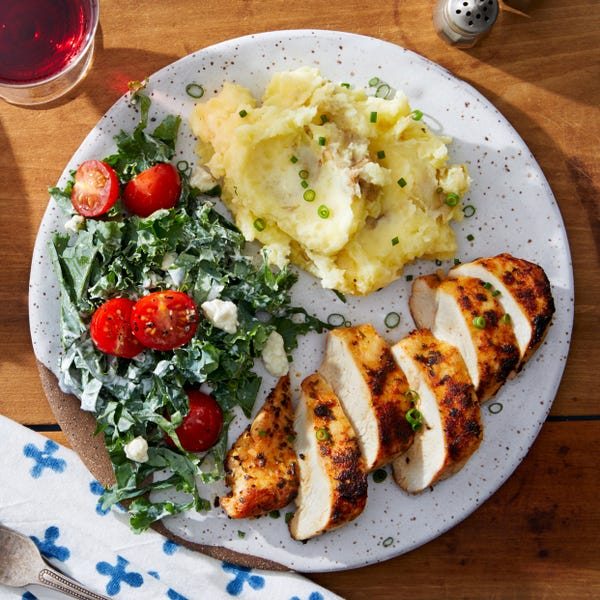 Spiced Chicken Breasts & Mashed Potatoes with Blue Cheese-Kale Salad
