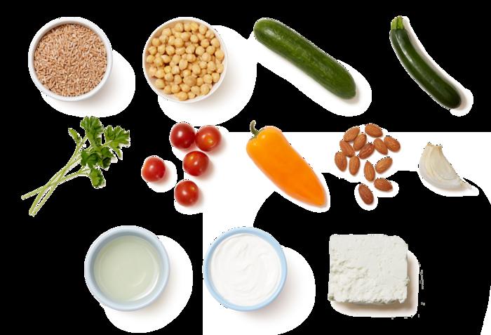 Greek-Style Farro Salad with Marinated Vegetables & Tzatziki