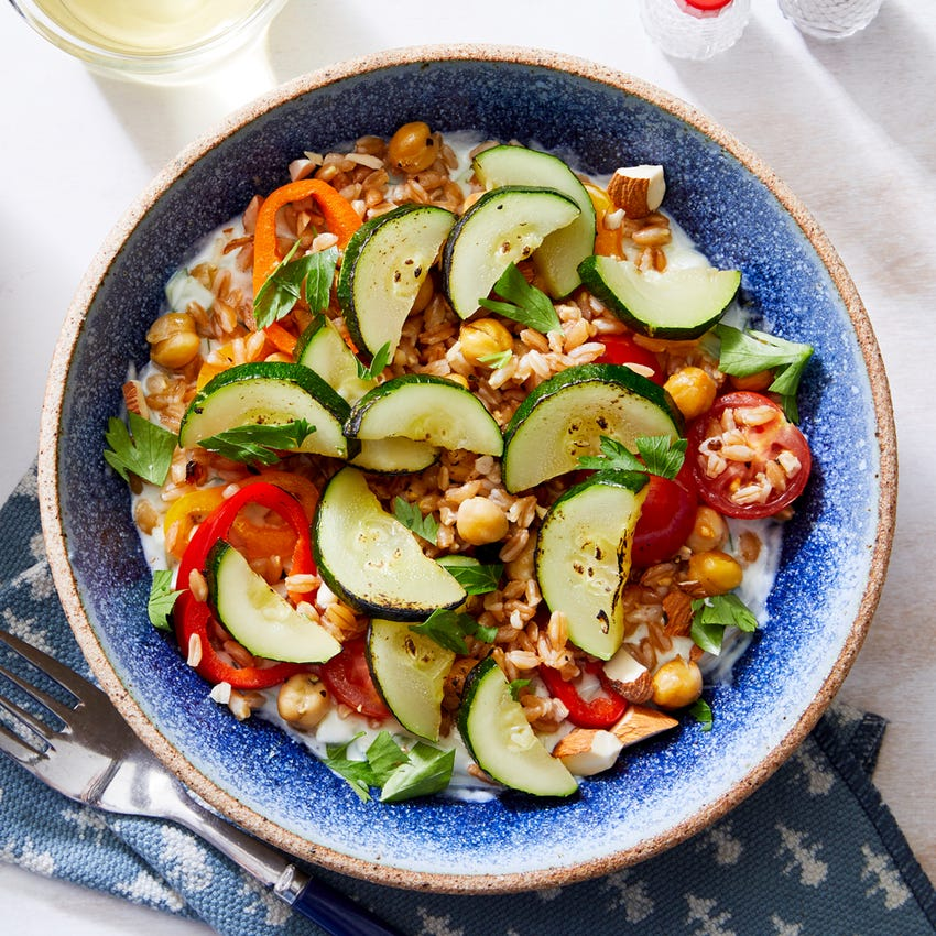 Greek-Style Farro Salad with Marinated Vegetables & Tzatziki
