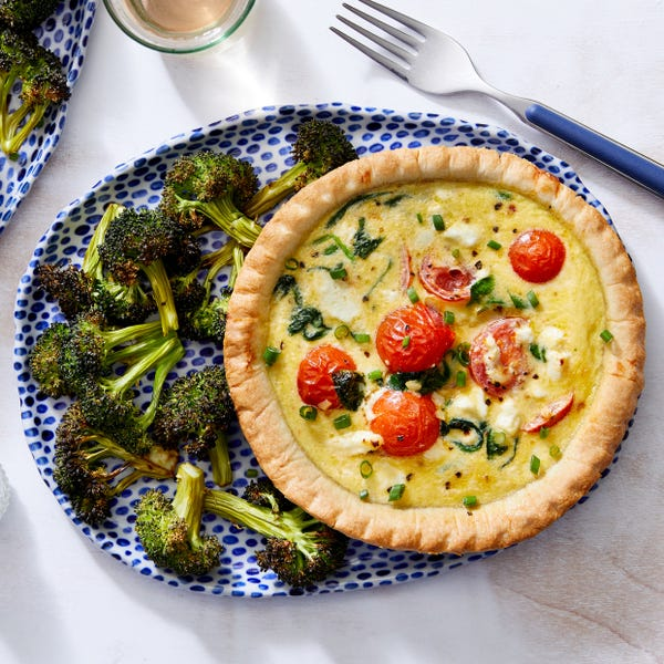 Spinach, Tomato, & Goat Cheese Quiche with Roasted Broccoli