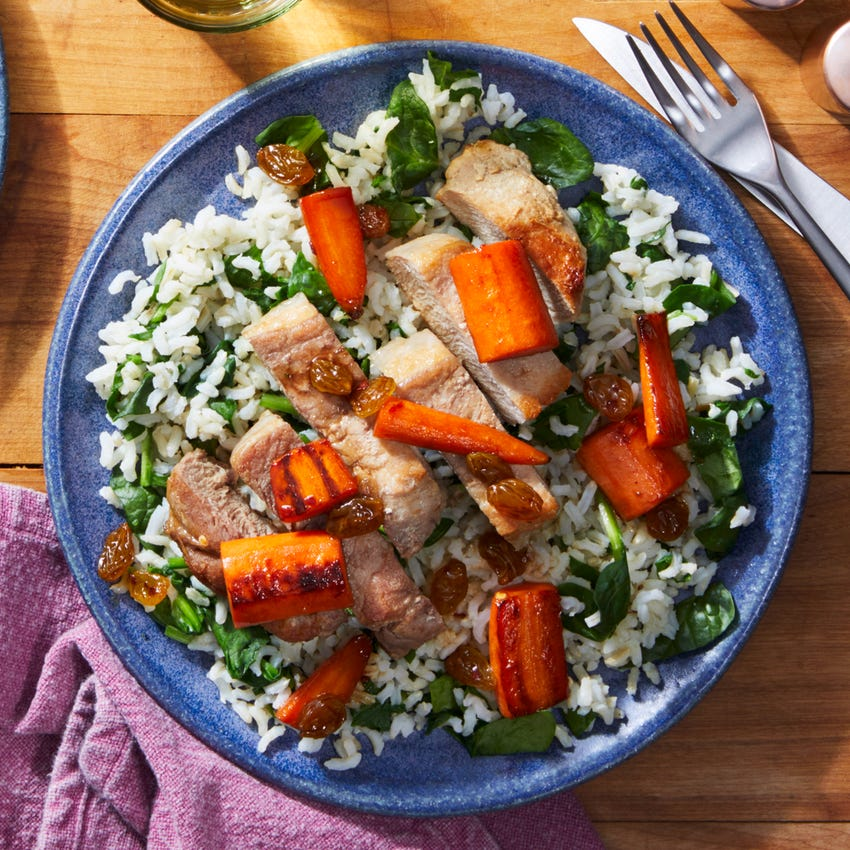 Seared Pork Chops & Carrot Agrodolce with Spinach Rice