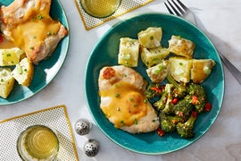 Honey Mustard Chicken with Potato Salad  & Roasted Broccoli
