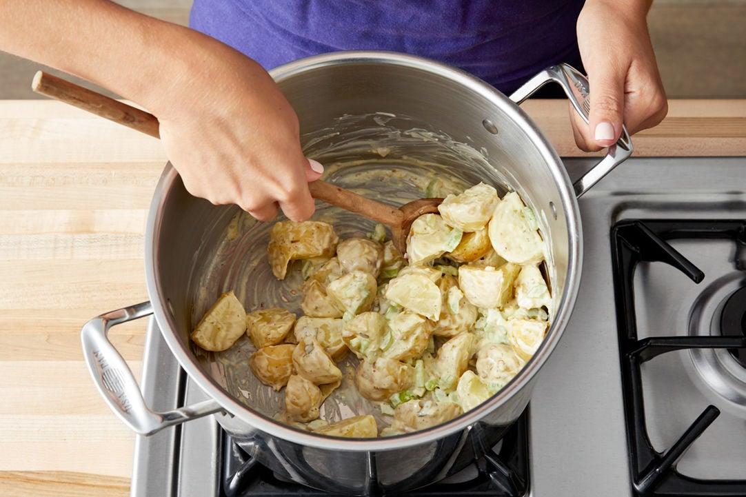 Cook & dress the potatoes: