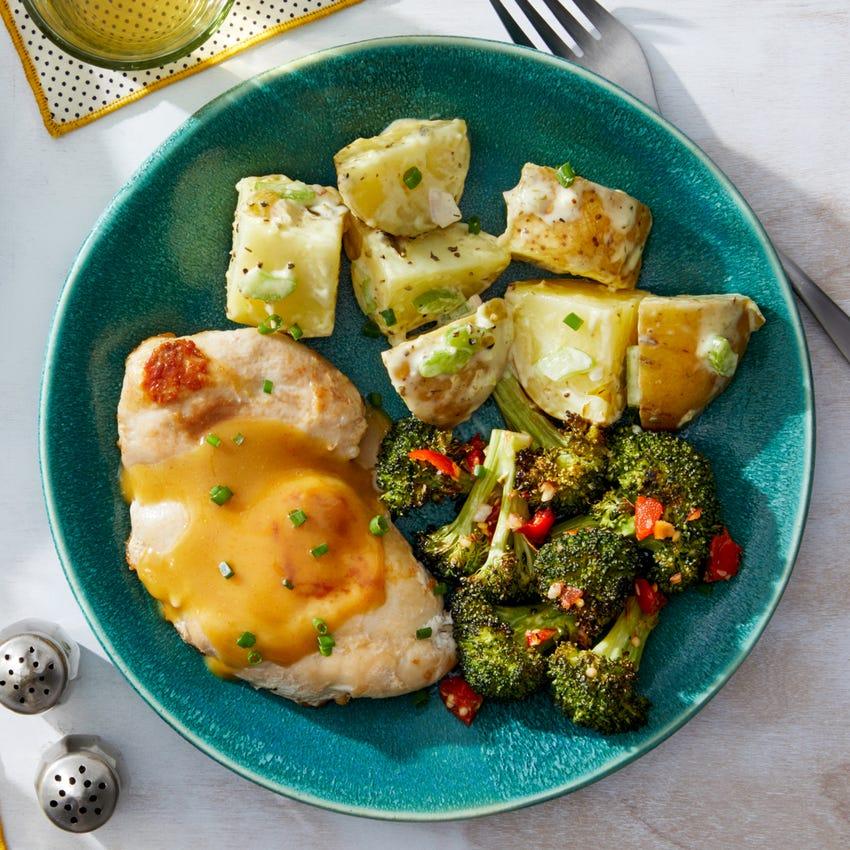 Honey Mustard Chicken with Potato Salad  & Roasted Broccoli