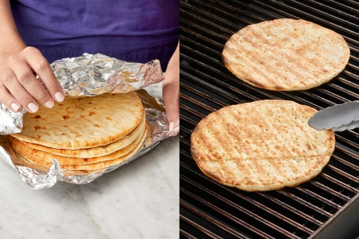 Warm the pitas: