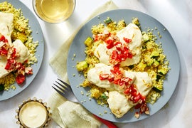 Baked Wild Alaskan Pollock with Roasted Pepper Relish  & Saffron Yogurt