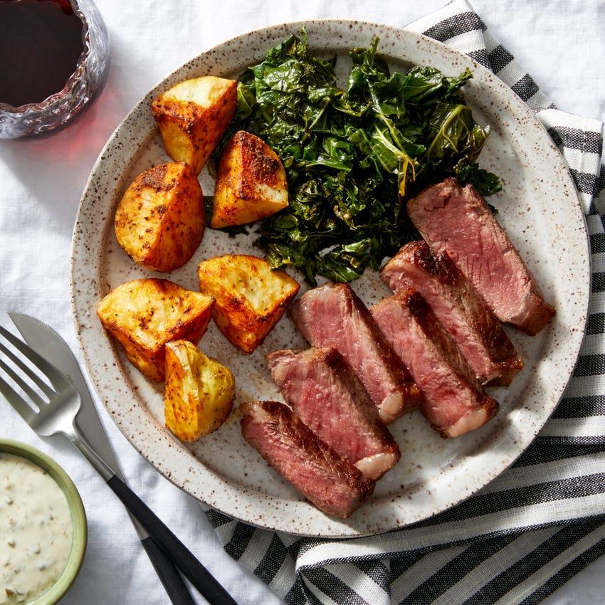 Seared Steak with Roasted Potatoes & Caper Aioli