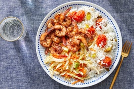 Mexican-Spiced Shrimp with Roasted Tomato Rice & Creamy Avocado Slaw