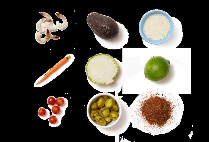 Mexican-Spiced Shrimp with Roasted Tomato Rice & Creamy Avocado Slaw