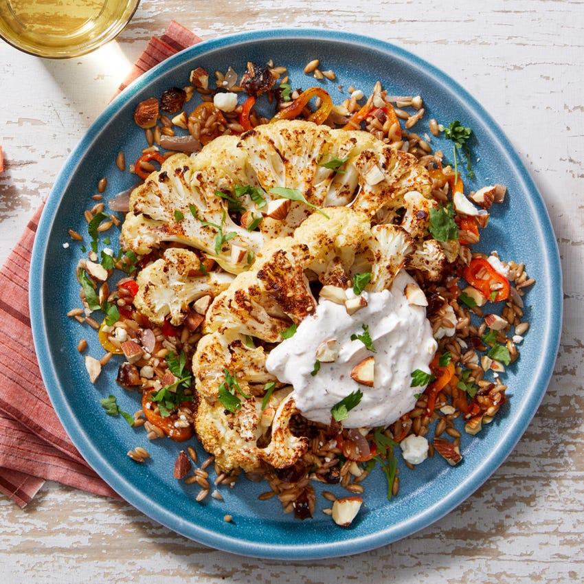 Za'atar-Roasted Cauliflower with Date-Farro Salad