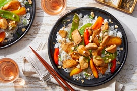 Shanghai Kung  Pao Chicken with Stir-Fried Spring Peas  & Sweet Peppers