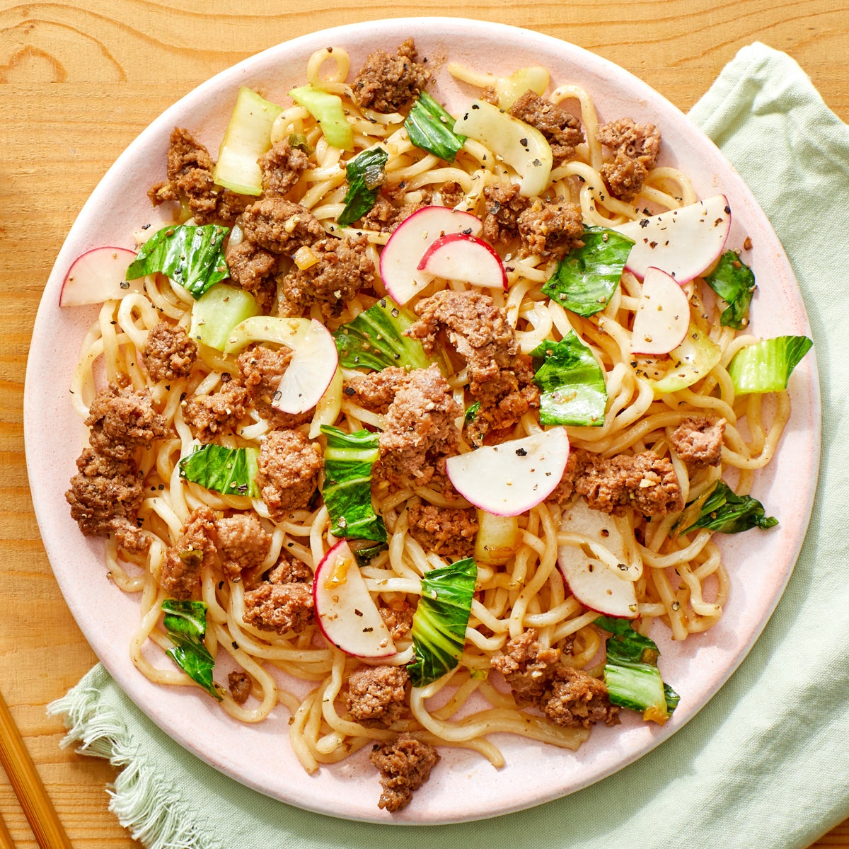 Orange Beef Lo Mein with Bok Choy & Radishes