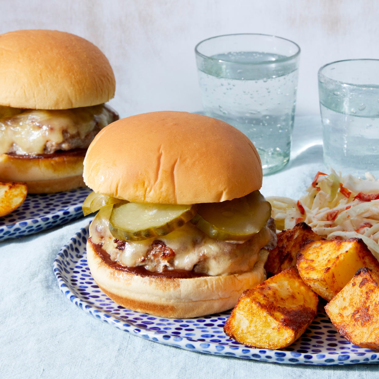 BBQ Pork Burgers with Pickled Pepper Coleslaw & Roasted Potatoes