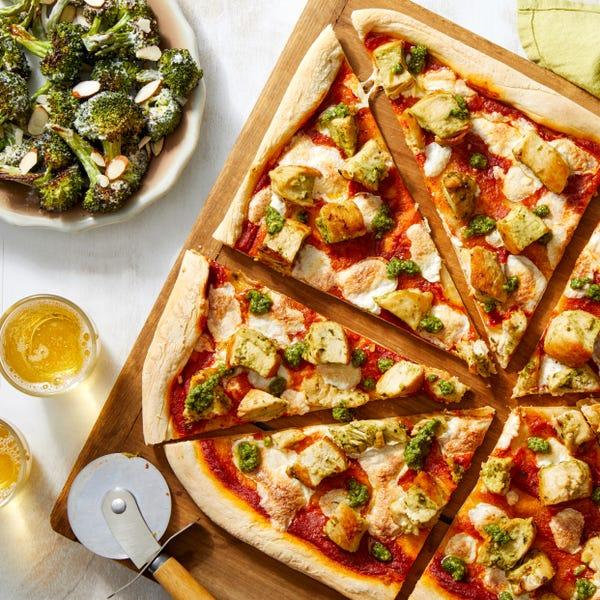 Pesto Chicken Pizza with Creamy Roasted Broccoli