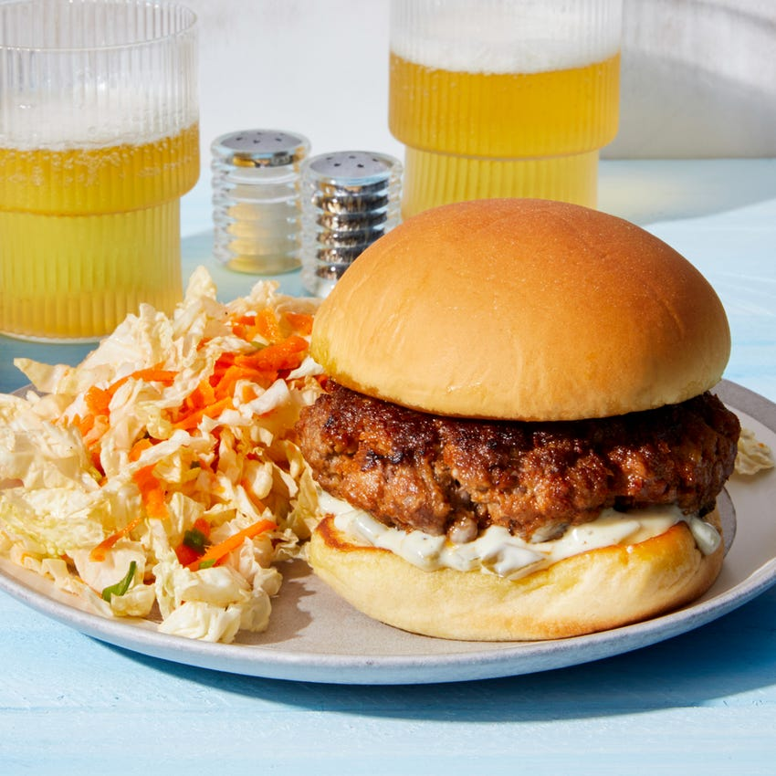 Smoky Beef Burgers with Spicy Mayo & Lime Slaw