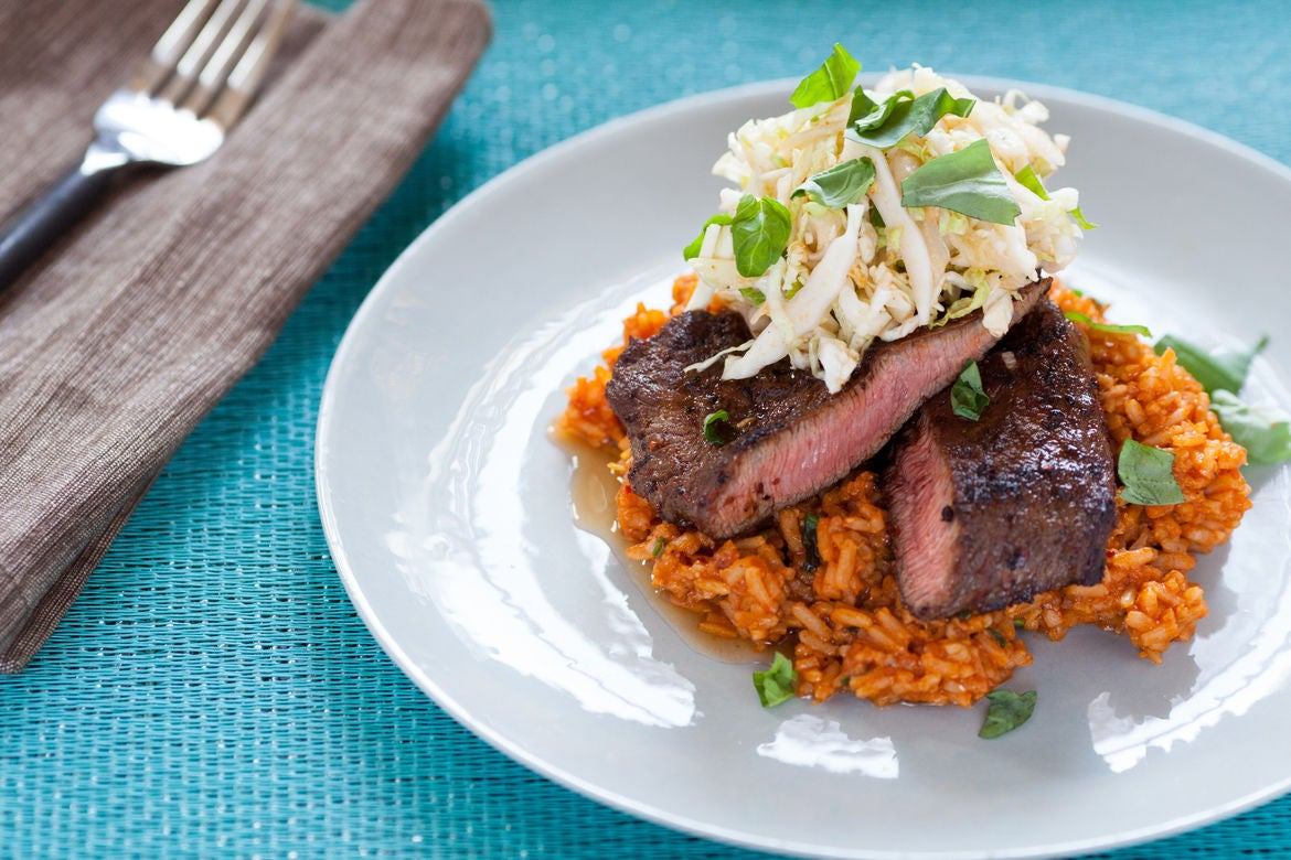 ... : Chile-Rubbed Steaks with Quick Kimchi & Tomato Rice - Blue Apron