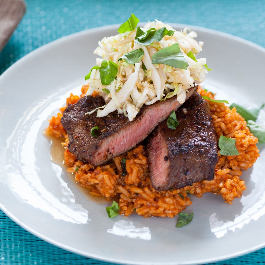 Chile-Rubbed Steaks with Quick Kimchi & Tomato Rice