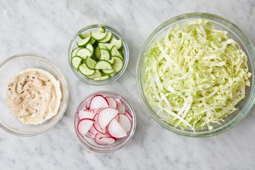 Prepare the ingredients & make the black garlic mayo: