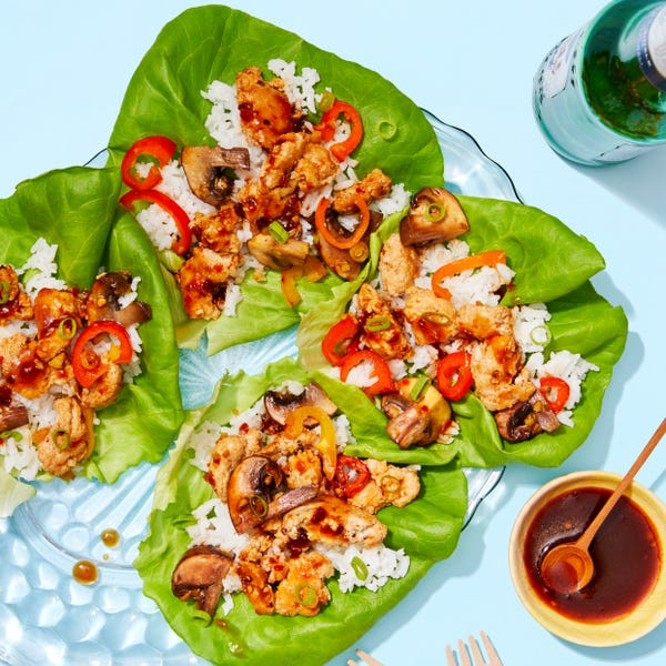 Chrissy Teigen's Sweet & Spicy Chicken Lettuce Cups with Peppers & Jasmine Rice