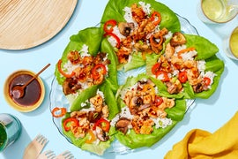 Chrissy  Teigen's  Sweet  &  Spicy  Chicken  Lettuce   Cups with Mushrooms & Jasmine Rice