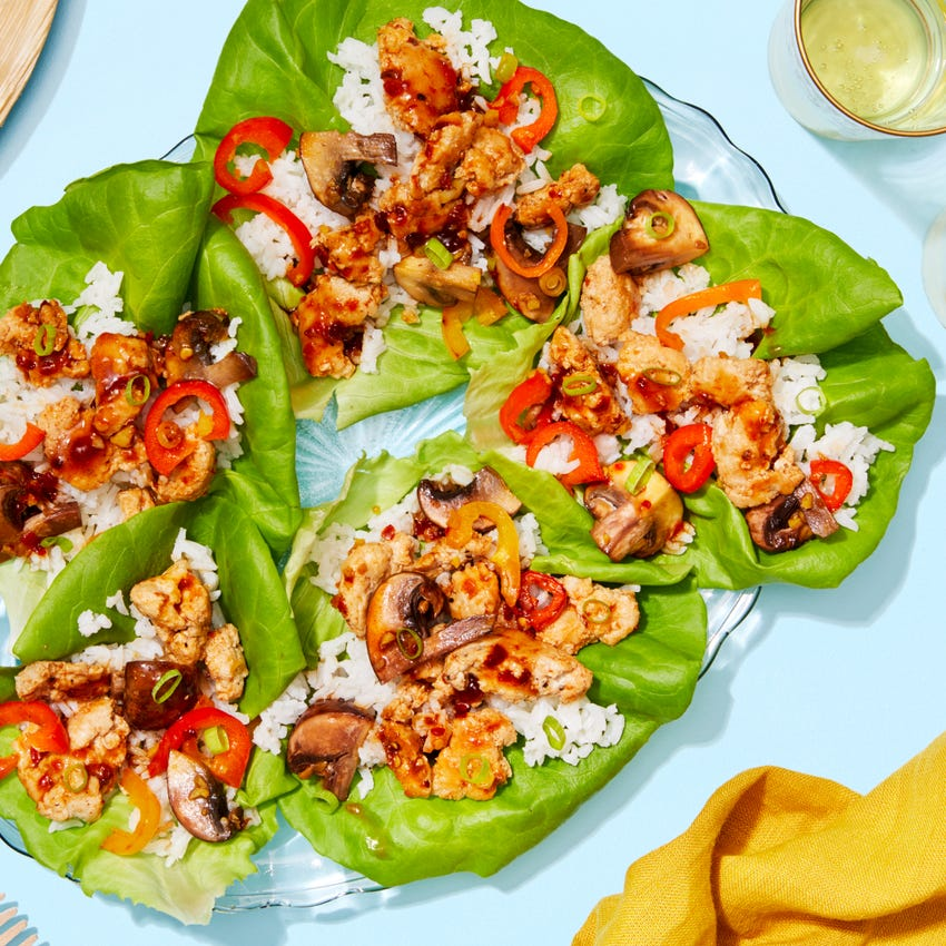 Chrissy  Teigen's  Sweet  &  Spicy  Chicken  Lettuce   Cups with Mushrooms & Jasmine Rice